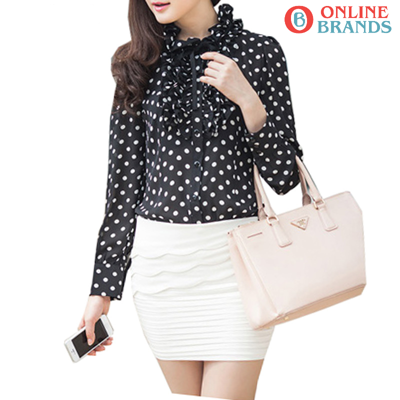 Korean women's blouse shirt in chiffon mixed, Free delivery in Canada | online brands